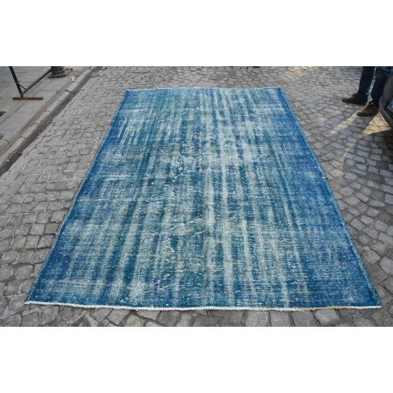 Vintage Handwoven Turkish Oushak Blue Rug - 6′2″ × 9′6″ - Image 2 of 6