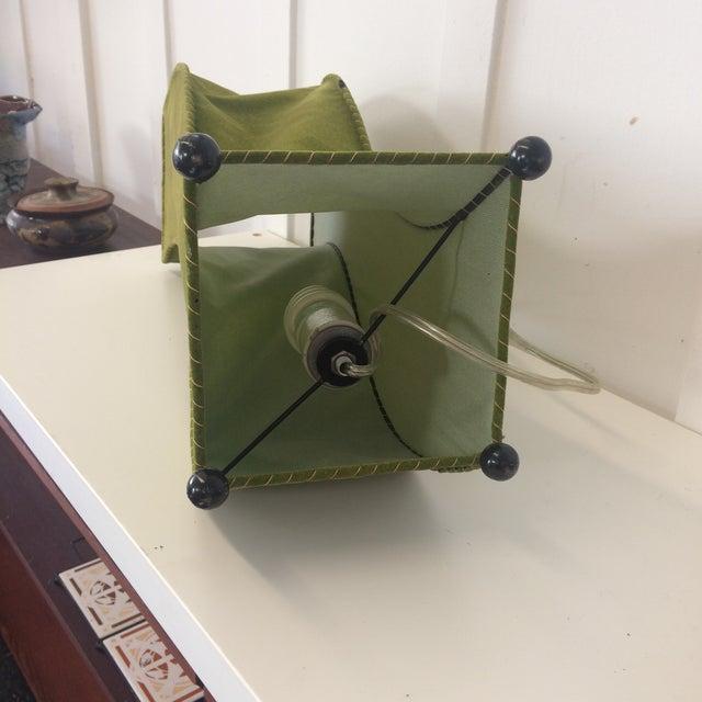 Mid-Century Moss Green Velvet Table Lamp For Sale In San Francisco - Image 6 of 11