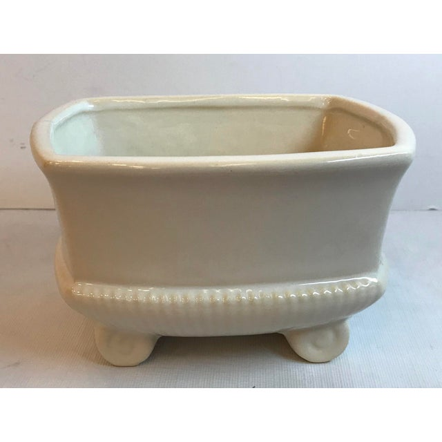 White Vintage Mid Century Cream Ceramic Planter For Sale - Image 8 of 8