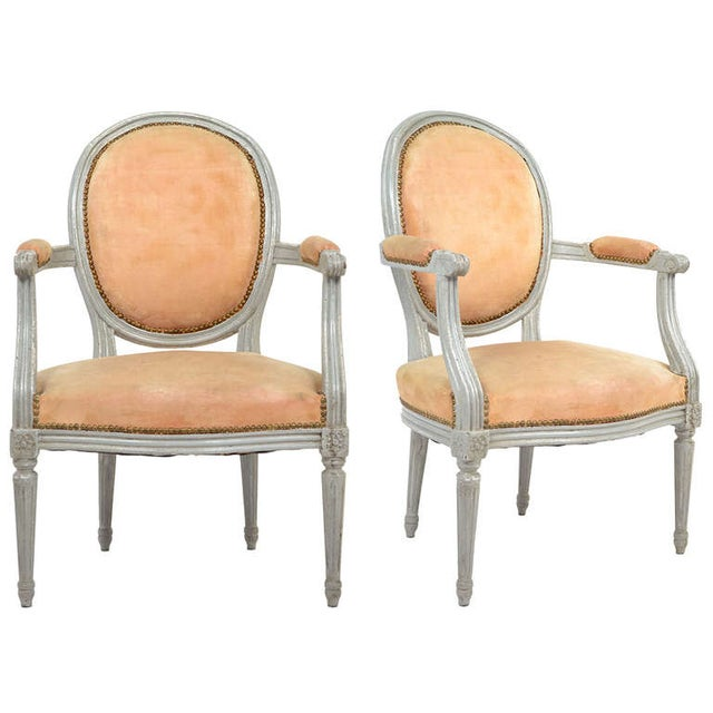 Louis XVI Gray-Blue Frame Armchairs - A Pair - Image 1 of 10