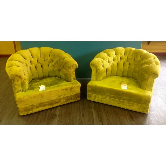 Mid-Century Tufted Chartreuse Club Chairs - A Pair - Image 6 of 8