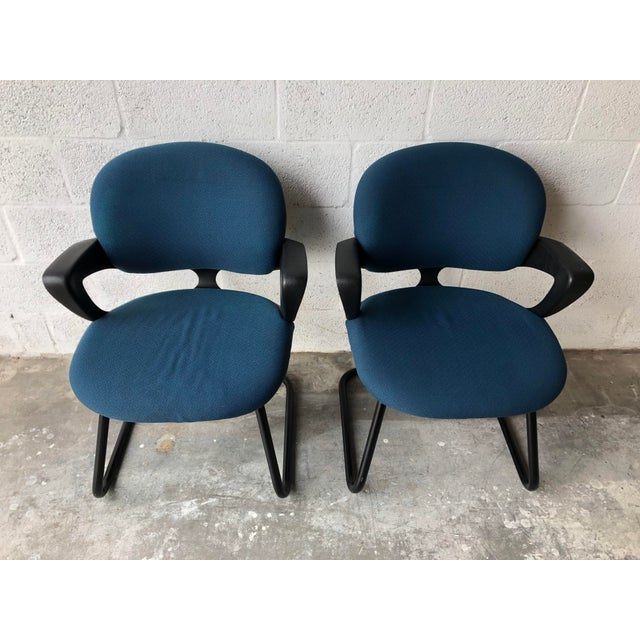 A pair of Vintage late 20th Century Herman Miller Avian Sled Side Chairs These 1990s Herman Miller Office Guest Chairs...
