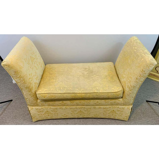 1960s French Art Deco Style Yellow Gold Bench or Window Seat After Dominique, a Pair For Sale - Image 5 of 13