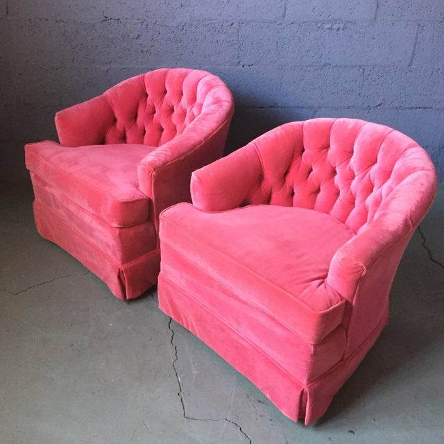 Pink Velvet Tufted Lounge Chairs - A Pair | Chairish