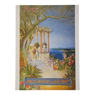 Vintage Lithograph Poster by Listed Artist - Nice, France C.1973 For Sale