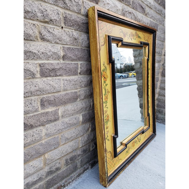 Very unique and beautiful vibrant colors on this vintage hand painted Italian mirror.It has a gilded frame and a scrolling...