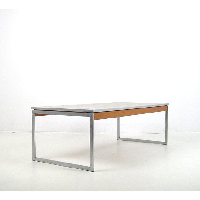 Large mosaic coffee table, 1960s. Frame in chrome-plated metal and wood veneer. Mosaic tile top in gray and gold.