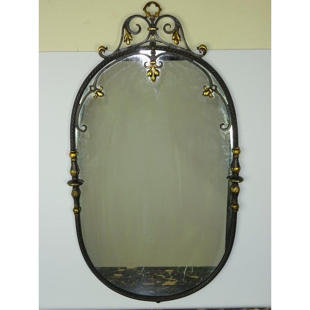 Antique Oval Marble Console with Mirror - Image 9 of 11