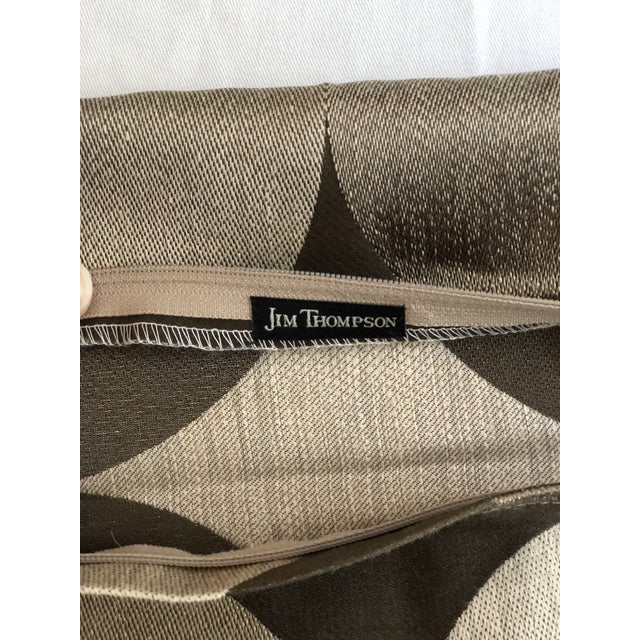 "Textile Pair of 24"" Brown and Tan Geometric Jim Thompson Pillows For Sale - Image 7 of 9"