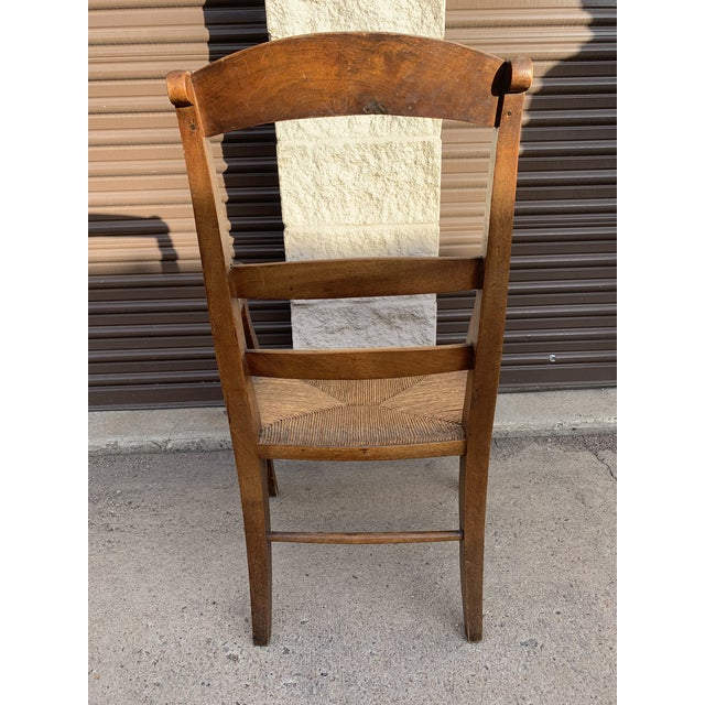Brown Mid 19th Century French Walnut Rush Seat Armchair For Sale - Image 8 of 13