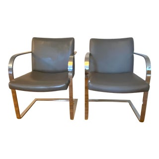 1970s Cantilever Chrome Flat Bar Gray Chairs - a Pair For Sale