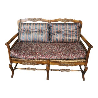 French Country Ladderback Settee For Sale