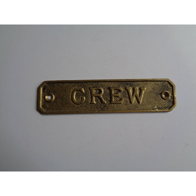"Nautical Vintage Brass Ship's ""Crew"" Sign For Sale - Image 3 of 3"