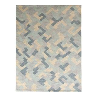Hand-Made Scandinavian Style Kilim Blue Flat Weave by Rug & Kilim For Sale