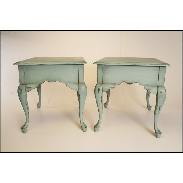 Vintage French Distressed Wood Side Tables - Pair - Image 11 of 11