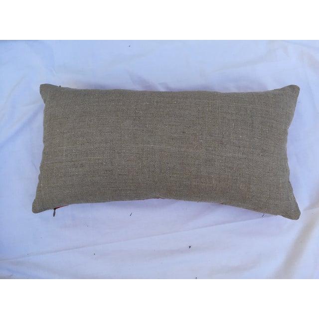 Asian Vintage Asian Red Silk Crane Boudoir Pillow For Sale - Image 3 of 5