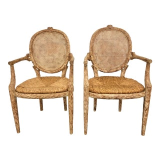 20th Century Bois Cane Back Chairs- a Pair For Sale