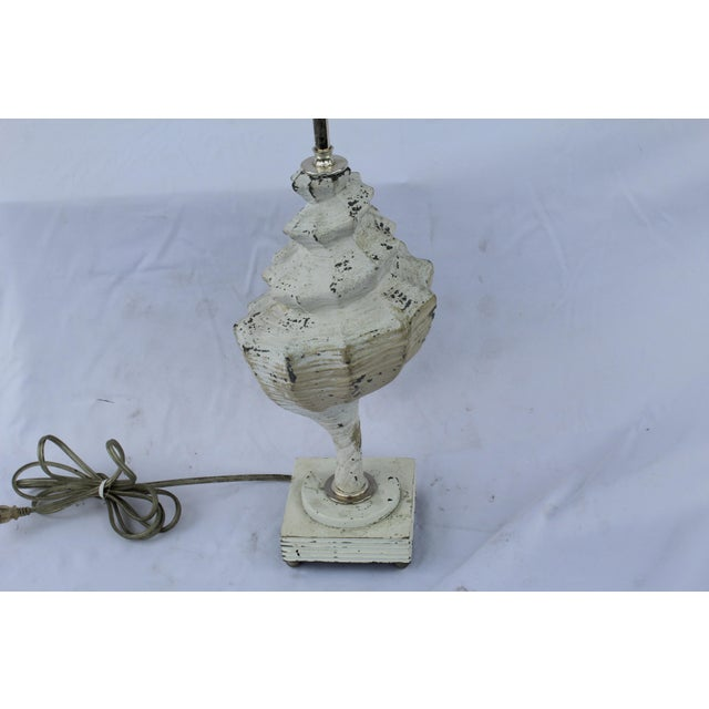 1960s Original White Metal Conch Shell Lamp For Sale - Image 5 of 8