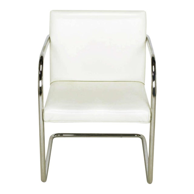 Four Thonet White & Chrome Cantilever Dining Chairs - Image 1 of 9