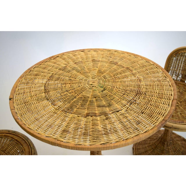 Mid-Century Modern 1950s Wicker Rattan Dinette with Swivel Seats - 3 Pieces For Sale - Image 3 of 9