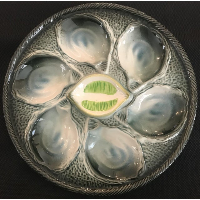 French Provincial Vintage French Saint Clement Oyster Plates - Set of 9 For Sale - Image 3 of 6