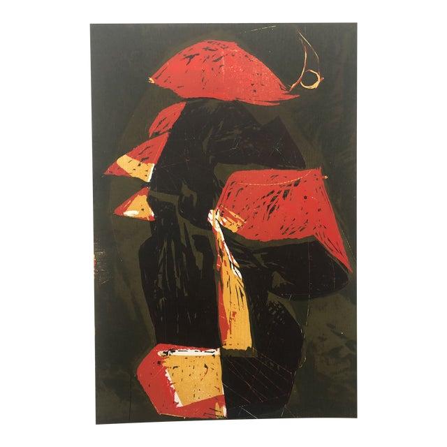Mid-Century Modern Rooster European Woodcut 1950s For Sale