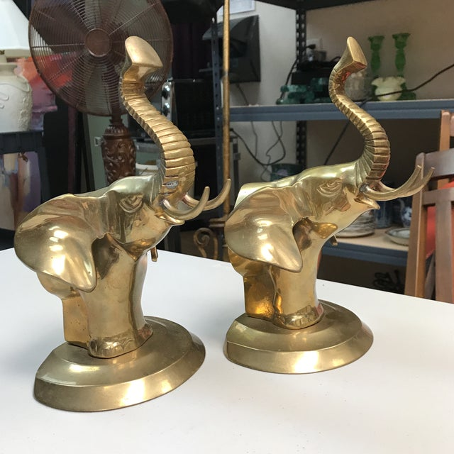 Brass Brass Elephant Bookends - A Pair For Sale - Image 7 of 10
