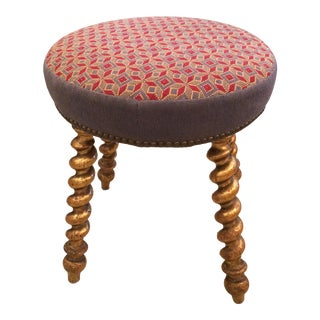 1920s Traditional Needlepoint Top and Gilded Leg Piano Stool