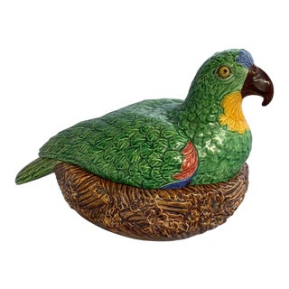 1900 Majolica Palissy Ware Parrot on Nest Lidded Box Signed Bordalo Pinheiro For Sale