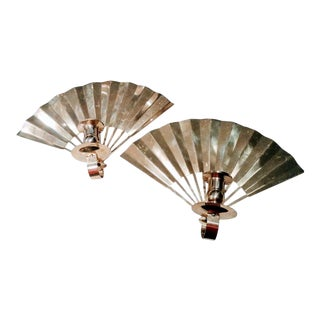A Pair Vintage Brass Gold Fan Shaped Candle Wall Sconces For Sale
