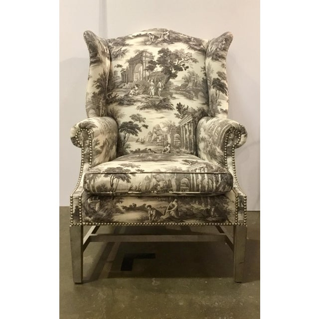 Stylish eclectic Currey & Co. Kingswood Chairs Pair, antiqued gray wash frame with French Toile Upholstery with nailhead...