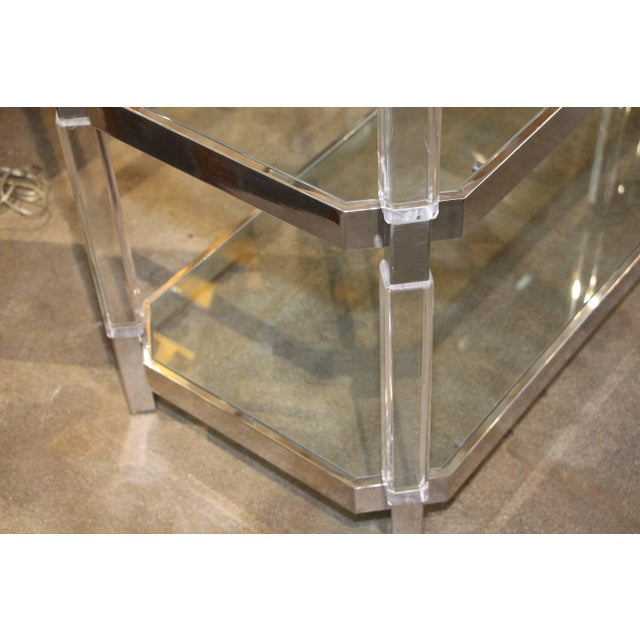 Modern Large Charles Hollis Jones Étagère in Nickel and Lucite For Sale - Image 3 of 13