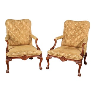 Pair of English Georgian Style Carved Walnut Lounge Chairs For Sale