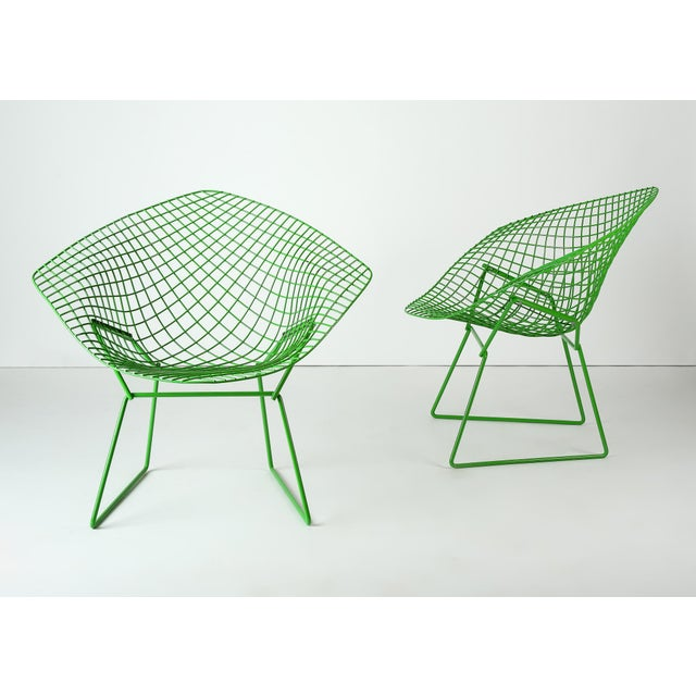 Pair of Harry Bertoia for Knoll 'Diamond' chairs recently refinished in custom green powder coat. C. 1960s.