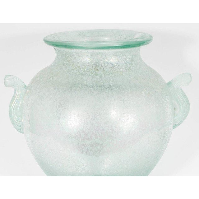 Contemporary Handblown Murano Glass Vase With Scrolled Arms in the Manner of Karl Springer For Sale - Image 3 of 8