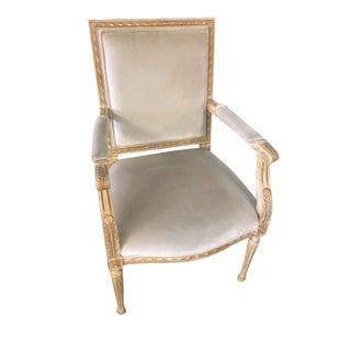 Schumacher Louis XVI Armchair in Gainsborough Fabric- Sample For Sale