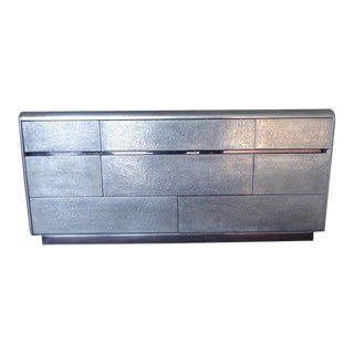 1970s Eight-Drawer Chest With a Textured Metal Coating by Marco Antonio For Sale