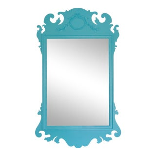 Aqua Lacquered Vintage Chippendale Mirror For Sale