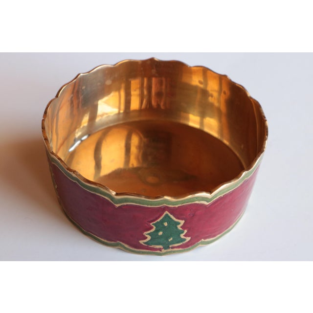 English Traditional Enameled Brass Christmas Tree Champagne Coaster For Sale - Image 3 of 5