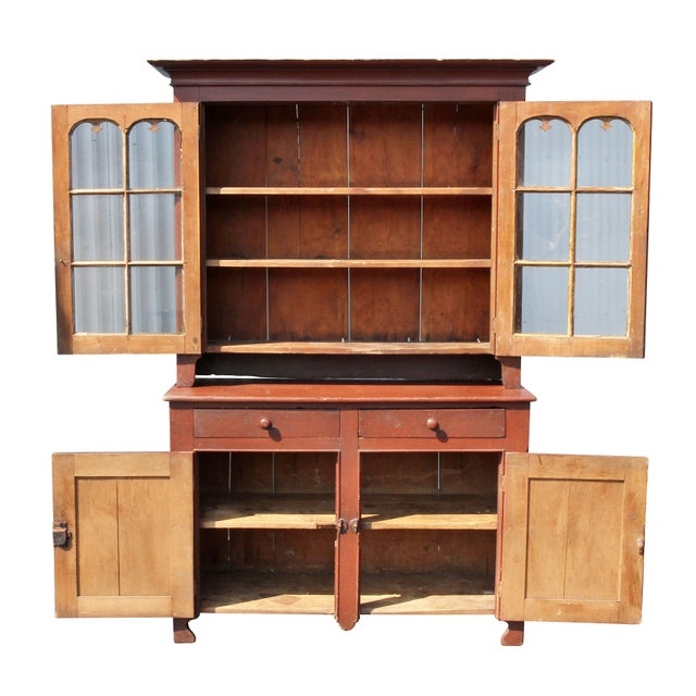 Traditional American Red Painted Two Part Cupboard For Sale - Image 3 of 10