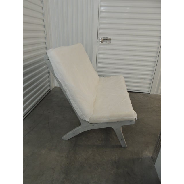 Wood Outdoor Safavieh Weathered Finish Settee For Sale - Image 7 of 10