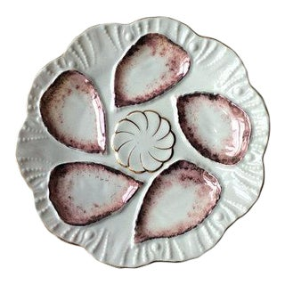 Antique French Porcelain Copper Lustre Glaze Oyster Plate For Sale