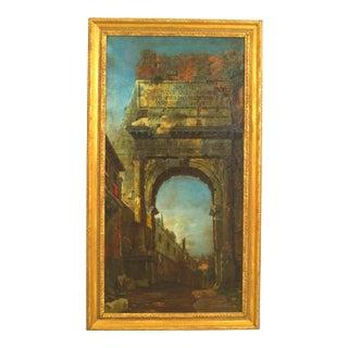 Italian Neo-Classic Landscape of Roman Arch For Sale