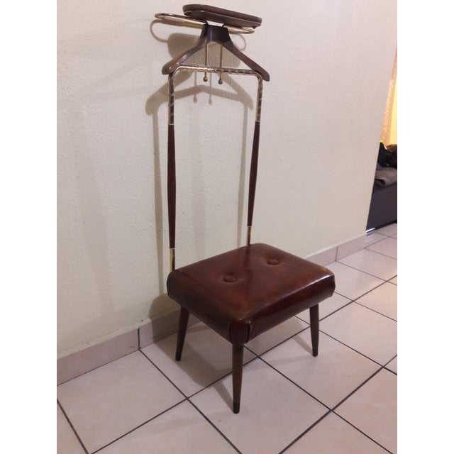 Mid-Century Coat Stand With Stool For Sale - Image 4 of 11