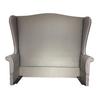 Custom Fully Upholstered Gray Queen Size Bedframe