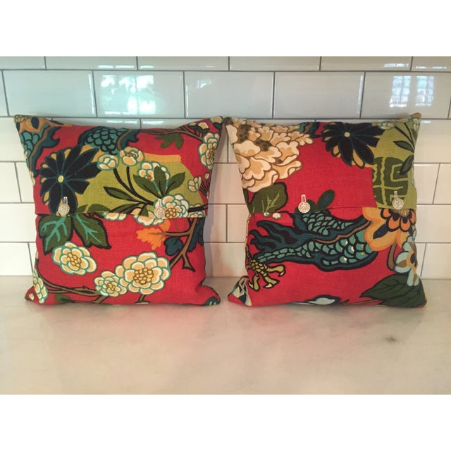 Asian Schumacher Chiang Mai Dragon in Red Pillows - Pair For Sale - Image 3 of 11