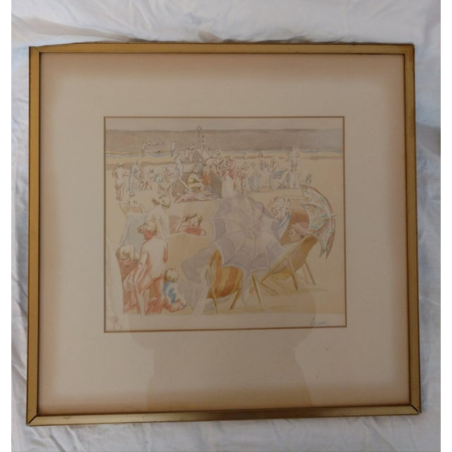 1920 French Nude Beach by Thérèse Lessore Paintings - a Pair For Sale - Image 4 of 13