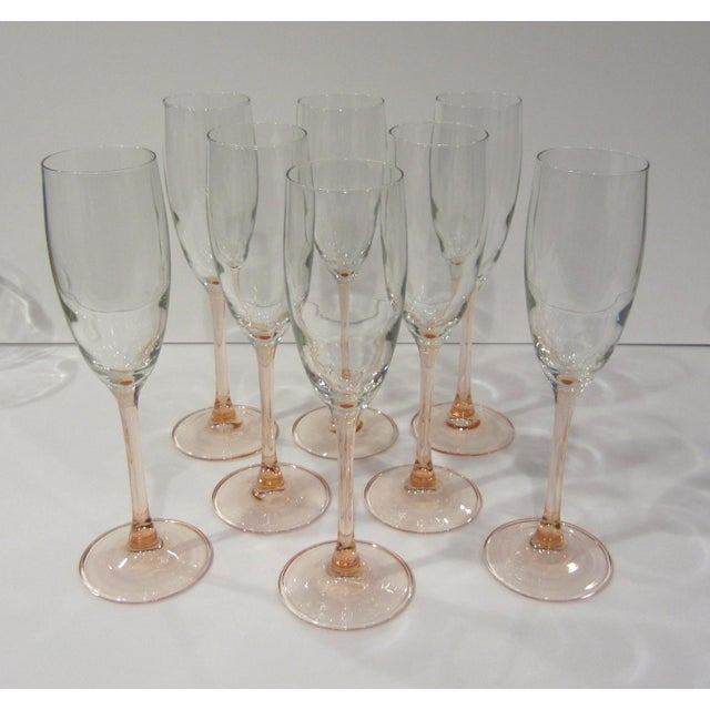 French Pink Champagne Flutes - Set of 8 For Sale - Image 10 of 11