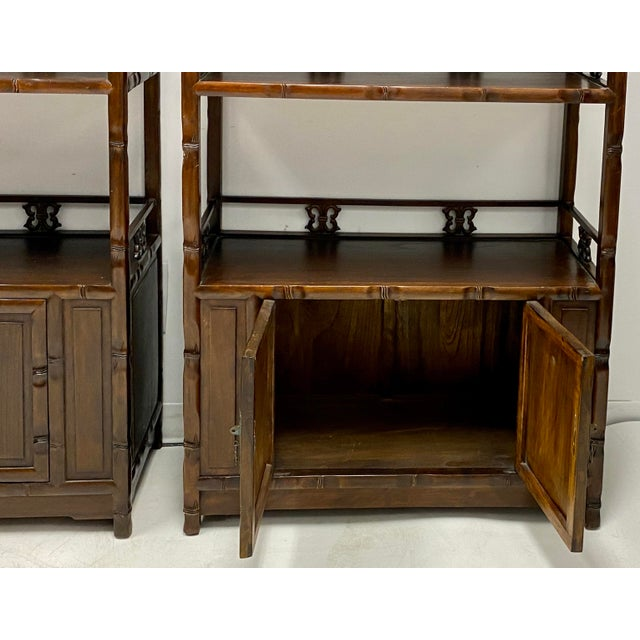 Asian Pair of Mid-Century Asian Faux Bamboo Etageres For Sale - Image 3 of 6