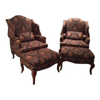 1990s Vintage Pearson Upholstered Wing Back Chairs and Ottoman - 4 Pieces For Sale